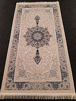 Перський килим 0,8х1,5 з натурального бамбукового шовку кремово-сірого кольору виробництва Ірану