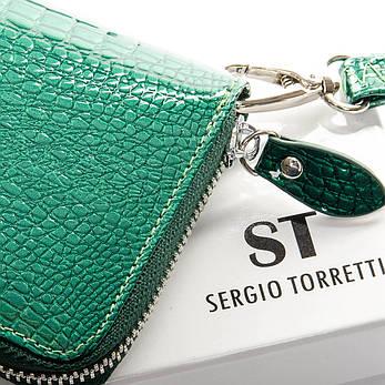 Гаманець LR шкіра лак SERGIO TORRETTI W38 темно-зелений, фото 2