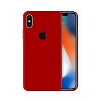 Защитная виниловая наклейка для iPhone Xs красный матовый. Чехол для задней поверхности телефона
