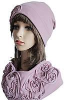 Комплект Колпак шапка с отворотом и снуд лиловый
