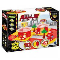 Трек пластиковый play tracks city Пожарная станция гараж с машинками tigres 53510