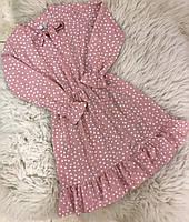 {есть:128,140} Платье в горошек для девочек,  Артикул: DRST001-розовый