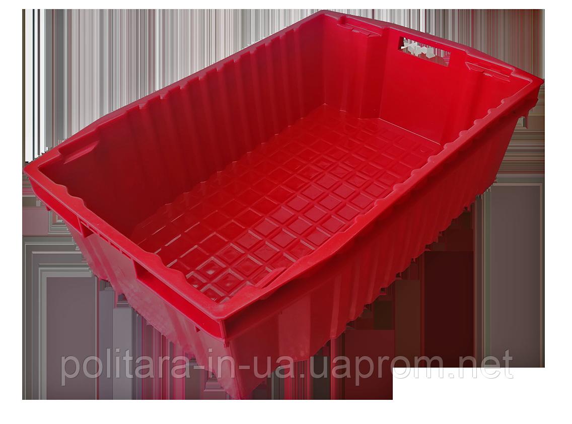 Ящик пластиковый сплошной конусный 600x400x180 из вторичного п/э черный
