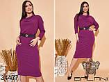 Элегантное женское платье с поясом размер: 48,50,52,54,56,58,60,62, фото 2