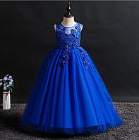 Платье синее бальное выпускное длинное в пол нарядное для девочки в садик или школу, фото 1