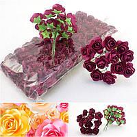 (ОПТ,12 букетиков) Роза бумажная 1,5см (144 шт) Цвет -Бордо