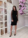 Жіноче чорне замшеве рукави плаття в горошок, розміри 42-48, фото 2