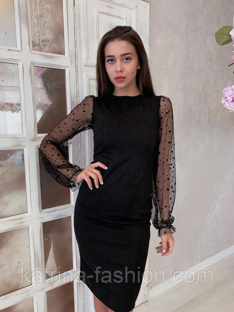 Жіноче чорне замшеве рукави плаття в горошок, розміри 42-48
