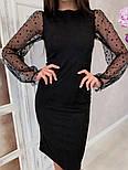 Жіноче чорне замшеве рукави плаття в горошок, розміри 42-48, фото 3
