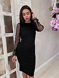 Жіноче чорне замшеве рукави плаття в горошок, розміри 42-48, фото 5