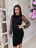 Жіноче чорне замшеве рукави плаття в горошок, розміри 42-48, фото 4