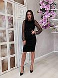 Жіноче чорне замшеве рукави плаття в горошок, розміри 42-48, фото 6