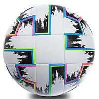 Футбольный мяч тренировочный 5 размер ЕВРО 2020 EURO CUP ПВХ Клеенный Белый-черный (FB-0367), фото 1
