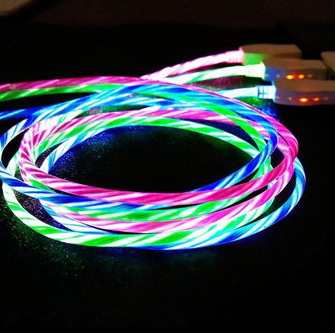 Micro USB кабель з ефектом струмка 2А, 1м - висока якість - білий