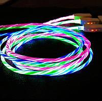 Micro USB кабель з ефектом струмка 2А, 1м - висока якість - білий, фото 1