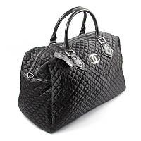 Сумка дорожная текстильная женская черная Chanel 5340-1