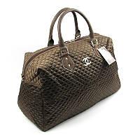Сумка дорожная текстильная женская коричневая Chanel 5340-1
