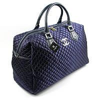 Сумка дорожная текстильная женская синяя Chanel 5340-1