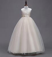 Платье пудра бальное выпускное длинное в пол нарядное для девочки в садик или школу, фото 1