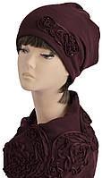 Комплект Муза шапка и снуд вышивка бордо