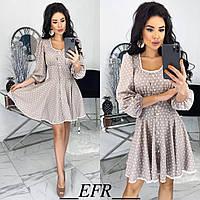 Платье женское в горошек (5 цветов) ЕФ/-506 - Бежевый, фото 1