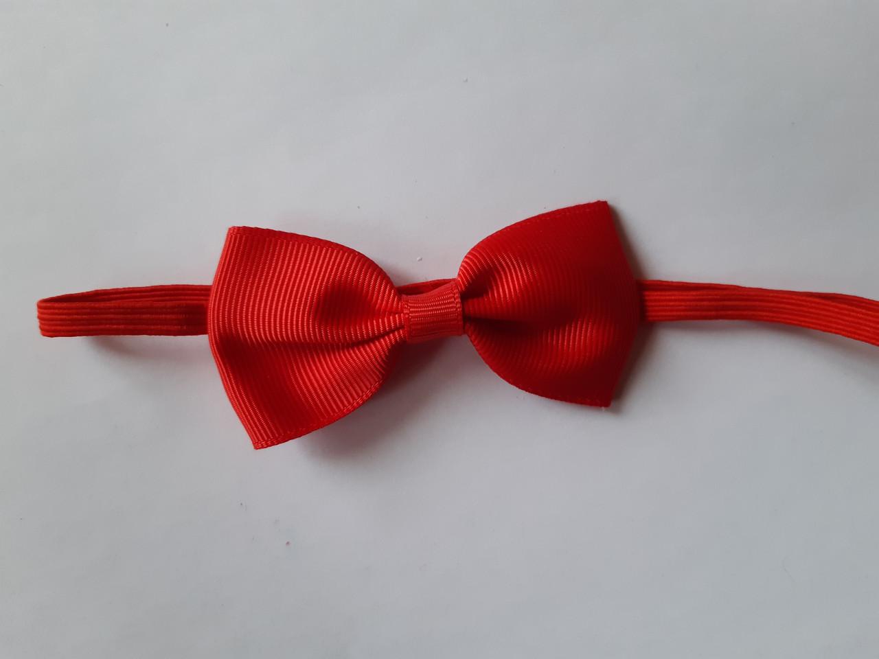 Детская повязочка на голову красная - размер универсальный (на резинке), бантик 7см