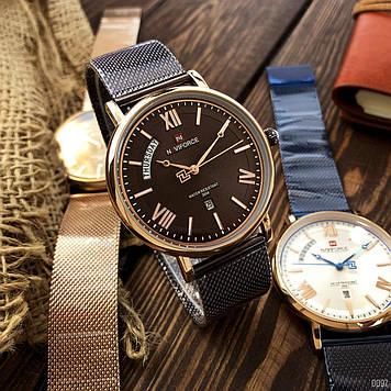 Мужские кварцевые наручные часы Naviforce NF3006 Brown-Cuprum