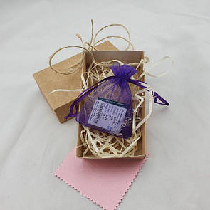 Подарочная коробочка с мешочком из органзы, древесным напомнителем и бантом из бичёвки