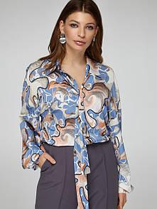2416 блуза Салерно,принт голубой