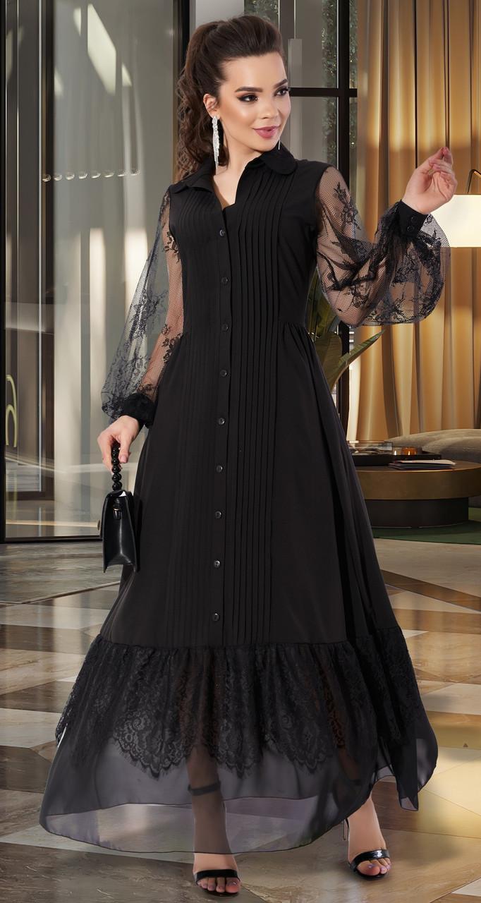 Шикарное женское платье в пол черного цвета