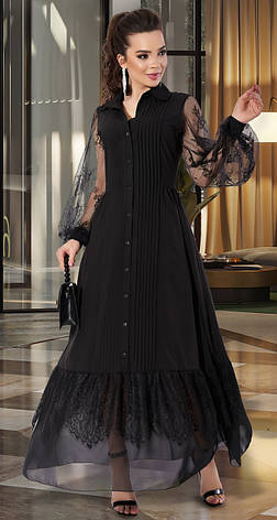 Шикарное женское платье в пол черного цвета, фото 2