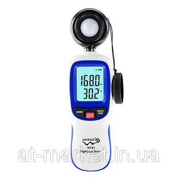 Измеритель уровня освещенности (Люксметр)+термометр  WINTACT WT81