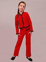 Костюм брючный для девочки М-587 рост 128 красный, фото 1