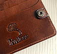 """Кошелек мужской кожаный компактный на внутренней кнопке """"Лошади"""". Цвет коричневый, фото 3"""