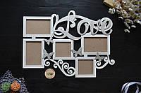 """Фоторамка """"LOVE"""" с бабочками на 5 фото, фоторамка любимой, фоторамка на 14 февраля, на день рождения"""