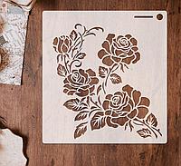 Трафарет 2 штамп теснение на стены шаблон РОЗЫ для альбомов для скрапбукинга для творчества 160*150 мм