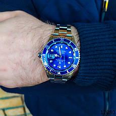 Часы мужские в стиле Rolex. Мужские наручные часы синие. Часы с синим циферблатом Годинник чоловічий, фото 3