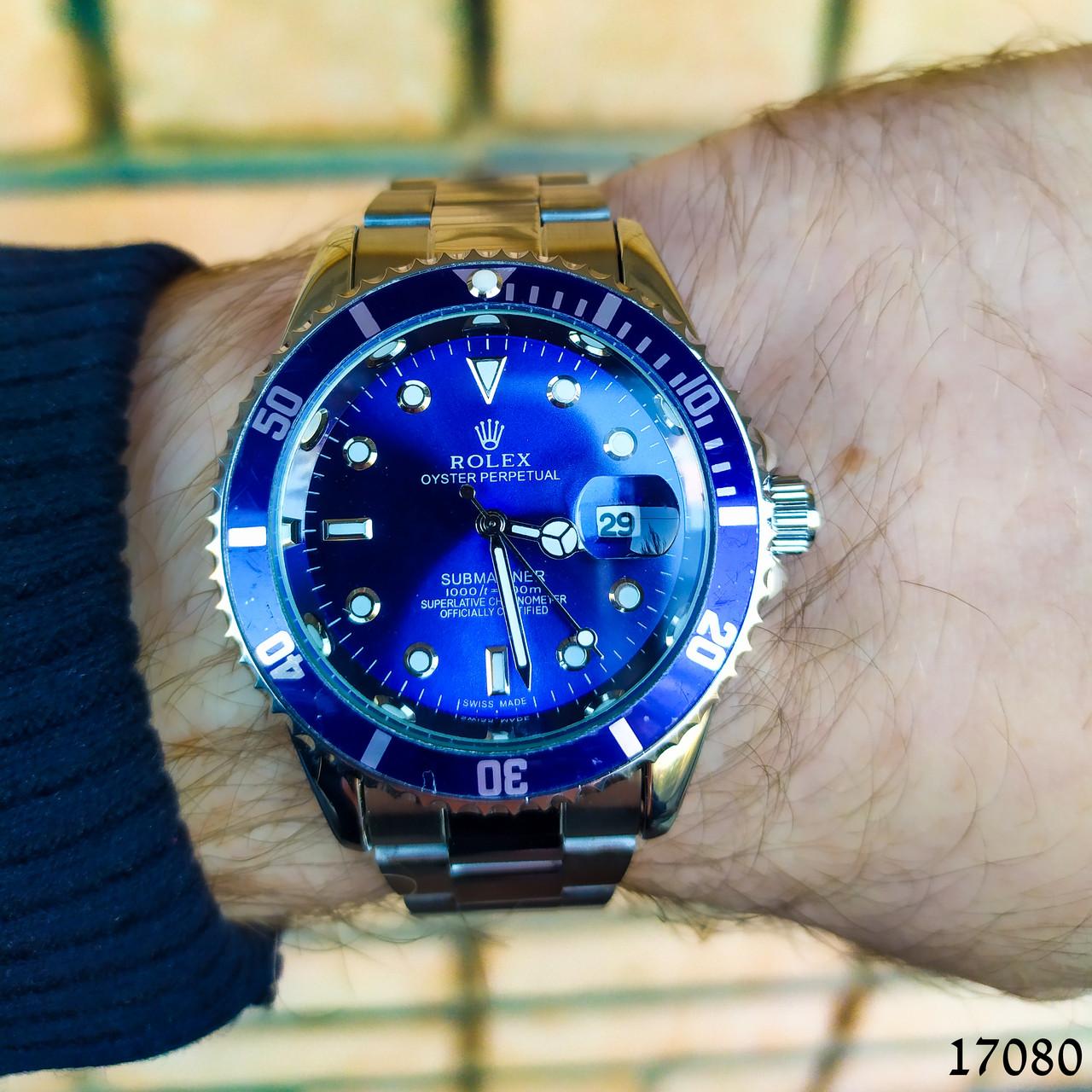 Часы мужские в стиле Rolex. Мужские наручные часы синие. Часы с синим циферблатом Годинник чоловічий