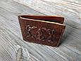 """Кошелек мужской кожаный компактный на внутренней кнопке """"Якорь"""". Цвет коричневый, фото 2"""