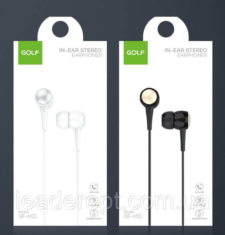 [ОПТ] Навушники керамічні дротові вакуумні Golf M21 In-Ear Stereo Earphone з мікрофоном
