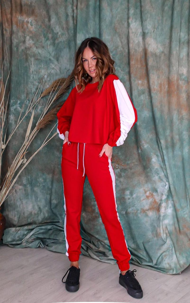 Спортивний костюм жіночий NOBILITAS 42 - 48 червоний трикотаж (арт. 20015)