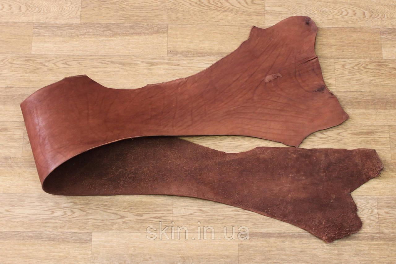 Кожа натуральная ременная коньячного цвета, толщина 3.2 мм, арт. СК 1680-6 пола