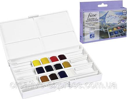 Набір акварельних фарб PLASTIC BOX 12 HALF PANS FINE2, фото 2