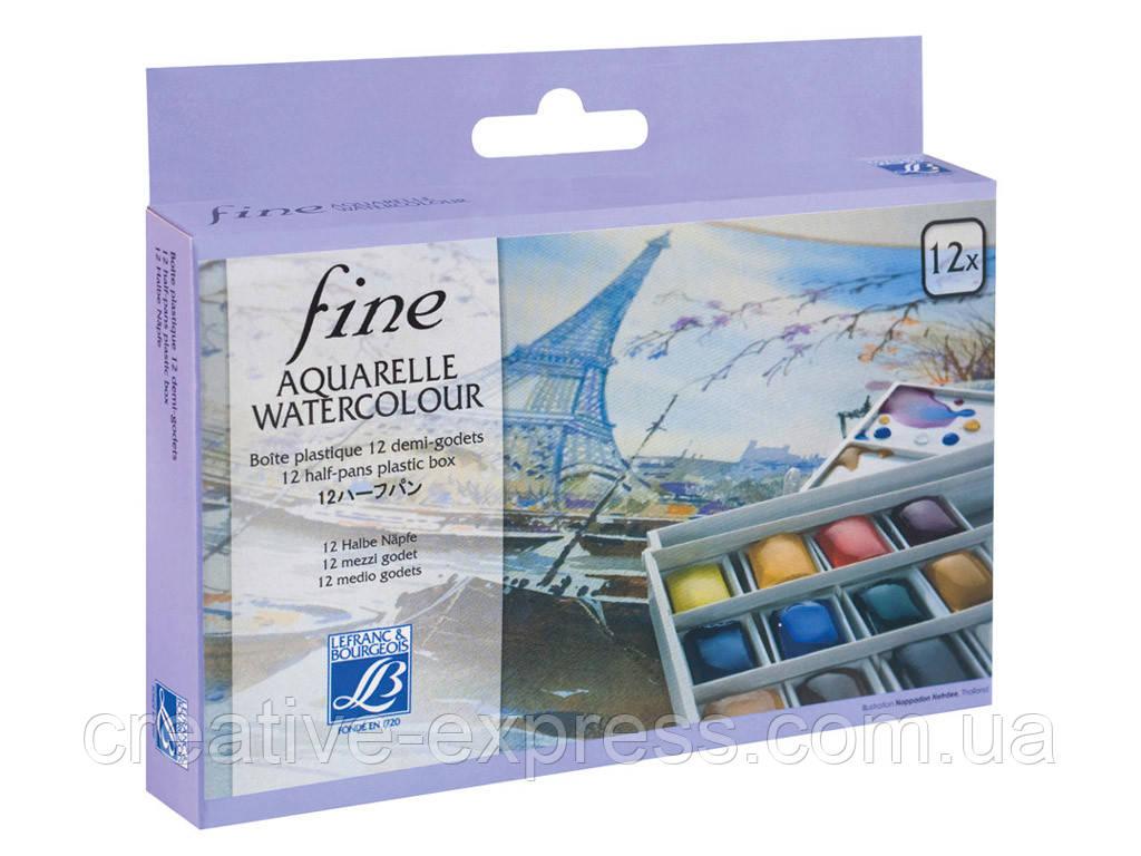 Набір акварельних фарб PLASTIC BOX 12 HALF PANS FINE2