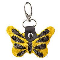Брелок сувенир бабочка STINGRAY LEATHER 18538 из натуральной кожи морского ската Желтый, Желтый