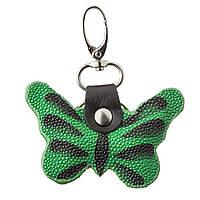 Брелок сувенир бабочка STINGRAY LEATHER 18539 из натуральной кожи морского ската Зеленый, Зеленый