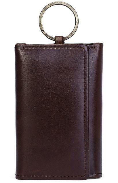 Стильна шкіряна ключниця Vintage 14931 Коричнева, Чорний