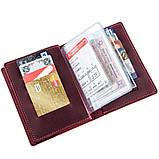Обкладинка для автодокументів шкіряна GRANDE PELLE 11190 Бордова, Бордовий, фото 4