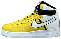 Мужские кроссовки Nike Air Force 1 High Yellow/White высокие Найк Аир Форс 1 желтые
