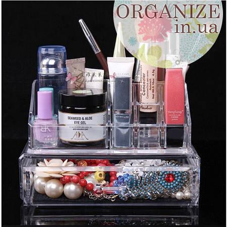 Акриловый органайзер для косметики и украшений с ящичком Cosmetic organizer